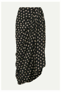 Isabel Marant - Candice Draped Floral-print Silk-crepe Midi Skirt - Black