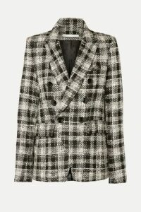 Veronica Beard - Miller Dickey Double-breasted Crystal-embellished Checked Tweed Blazer - Black