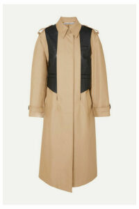 Alexander Wang - Layered Cotton-blend Gabardine And Ostrich-effect Leather Trench Coat - Beige
