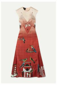 Cédric Charlier - Layered Printed Satin Midi Dress - IT40