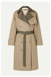 Rokh - Belted Layered Two-tone Cotton-gabardine Trench Coat - Beige