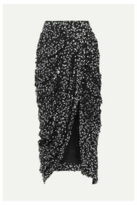 Isabel Marant - Calliandra Draped Sequin-embellished Georgette Midi Skirt - Black