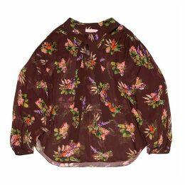 Tomcsanyi - Greta Lame Flower Print Sheer Blouse