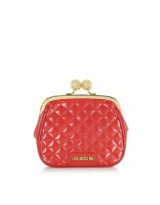 Love Moschino Designer Handbags, Quilted Eco-leather Clutch w/Chain