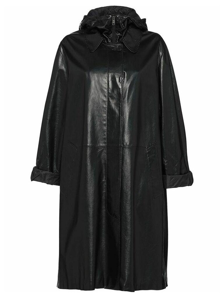 Prada midi leather coat - Black