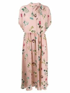 Red Valentino tied-neck floral print dress - Pink