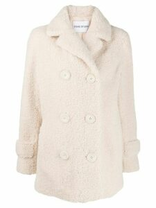 STAND STUDIO shearling double-breasted coat - White