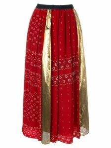 Kolor colour block panelled midi skirt - Red