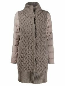 Herno cable knit layered coat - Neutrals