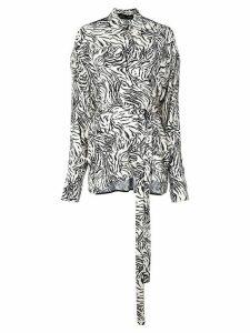 Proenza Schouler Zebra Print Exaggerated Epaulet Long Sleeve Wrap Top