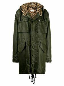 Faith Connexion leopard hooded parka - Green
