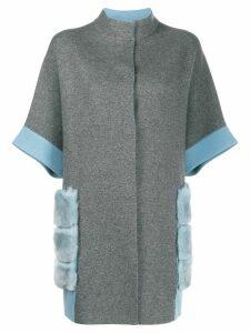 D.Exterior rabbit fur trim cardi-coat - Grey