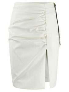 Nineminutes Leo leather look ruched skirt - White