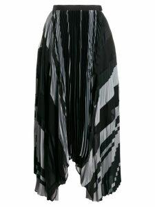 Sacai striped print pleated skirt - Blue