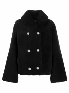 Balmain fluffy double-breasted coat - Black