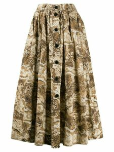 GANNI graphic print skirt - Brown