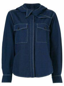 Maison Kitsuné knot detail denim shirt - Blue