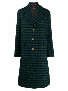 PS Paul Smith straight fit striped coat - Blue