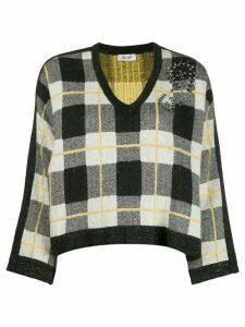 Liu Jo embellished plaid jumper - Black