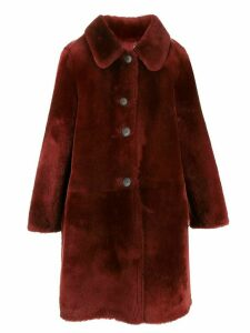 Desa 1972 sheepskin knee length coat - Red