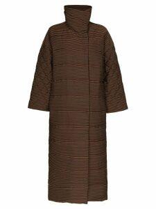 Mara Hoffman Frances striped puffer coat - Brown