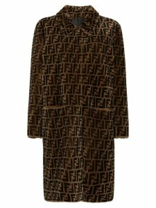 Fendi reversible FF-print shearling coat - Brown