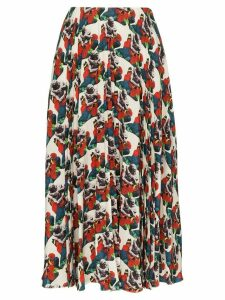Valentino floral-print pleated silk skirt - AM0 MULTICOLOURED