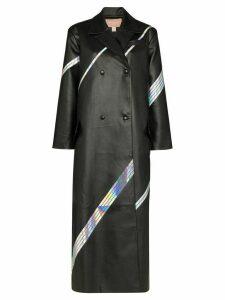 Matériel long holographic stripe overcoat - Black