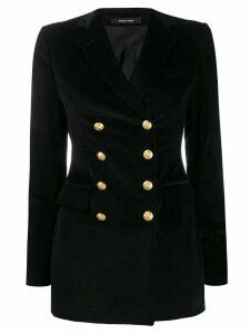 Tagliatore double-breasted velvet blazer - Black
