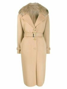Ermanno Scervino fur collar single breasted coat - Neutrals