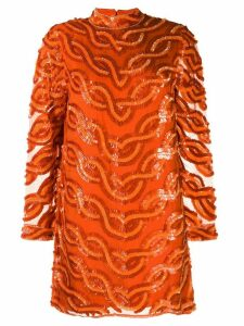 Erika Cavallini sequin-embellished silk dress - Orange