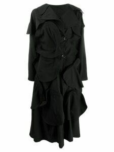 Yohji Yamamoto asymmetric textured coat - Black