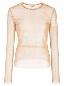 Priscavera sheer long sleeved top - Neutrals