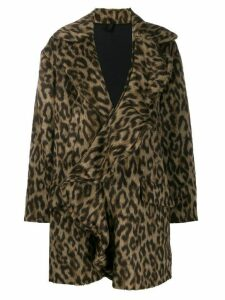 Unravel Project leopard print ruffled coat - Brown
