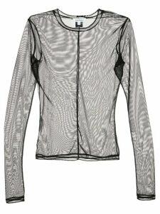 Priscavera long sleeved sheer top - Black