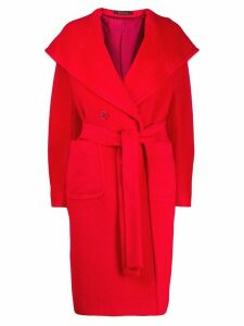 Tagliatore long hooded coat - Red