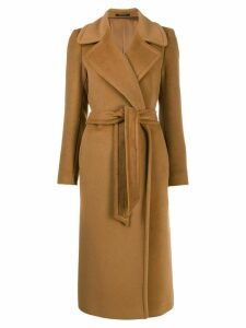 Tagliatore belted mid-length coat - Brown