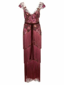 Marchesa Notte floral embroidered fringed gown