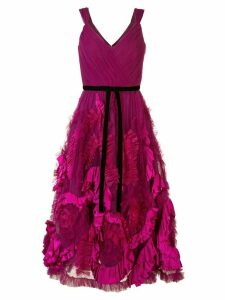 Marchesa Notte mix-media textured tulle tea length dress - Purple