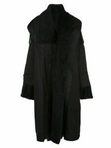 Yohji Yamamoto hooded boa coat - Black
