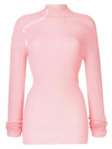 Victoria Beckham ladder detail ribbed sweater - PINK