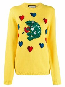 Gucci frog intarsia sweater - Yellow