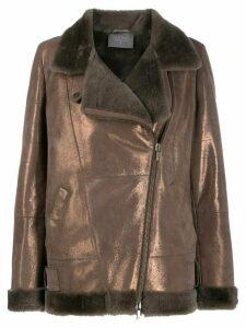 Lorena Antoniazzi metallic leather biker jacket - Brown