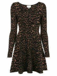 Milly leopard print skater dress - Brown