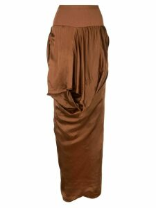 Rick Owens draped asymmetric skirt - Brown