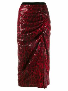 In The Mood For Love Ada sequin-embellished midi skirt - Red