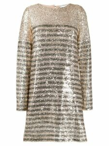 In The Mood For Love Millie striped sequin-embellished dress - Gold