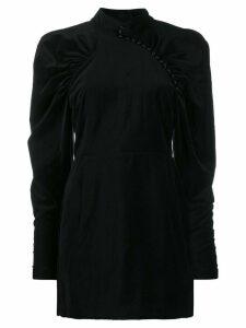 Rotate puff sleeve velvet dress - Black