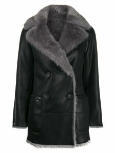 Urbancode Nosson reversible faux shearling peacoat - Black