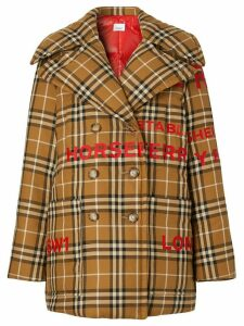 Burberry Horseferry Print Check Down-filled Oversized Pea Coat - Brown